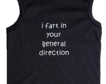 Funny Dog T Shirt Monte Python I Fart Dog Tank in Black