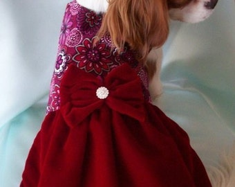 Dog Dress Red Velvet Christmas Dresses Formal Holiday Pet Wear