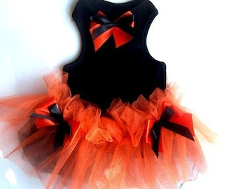 Dog Dresses TUTU Black and Orange Halloween Pet Photo Prop Fancy Cute Dog Dress