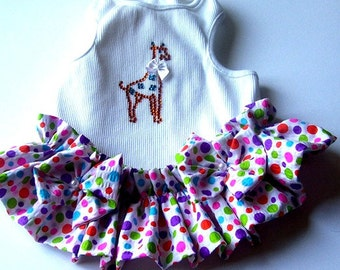 Dog Dress Giraffe dog clothes dress dresses tank style dog dress fancy pet wear and two custom  tees