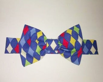 Dog Cat Bow Tie: Harlequin multi blue multi pink and black and white Mardi Gras