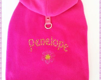 Warm Dog Coat Pink Harness Dog Hoodie Dog Coat X Small Small Medium Large XLarge Custom design Fur trimmed