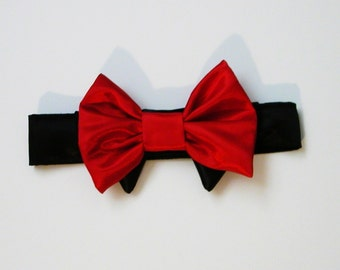 Dog or Cat Bow Tie: Wedding  Red  Satin with Black Collar Christmas Bow Tie Yorkie Chihuahua collar