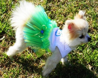 Dog Dress:Blue  TuTu  Wedding Dog Clothes  miascloset Blue and green whale Seaside wedding