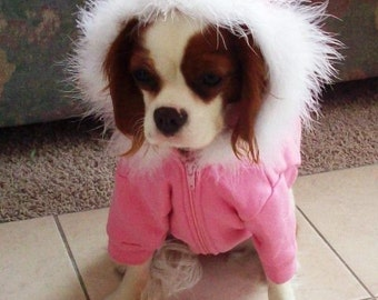 Dog Hoodie in pink with your choice of Crystal   Designs XSmall only