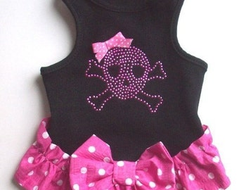 Dog Dress  Black Wife Beater Dog Dress Clothes Pet tee dress Yorkie Chihuhuahua