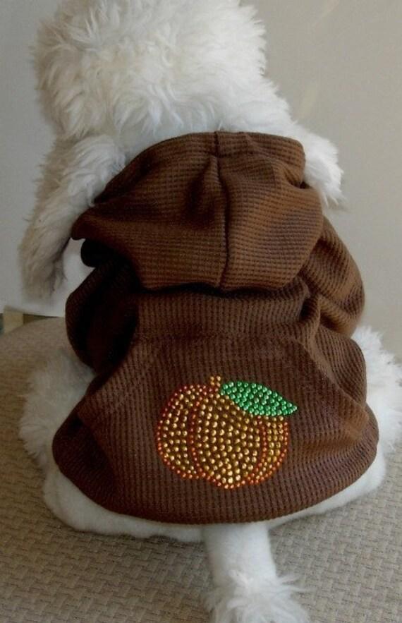 Dog Hoodie Cat Sweatshirt Dog Coat Brown Pumpkin Fall Dog Coat Size Medium miascloset