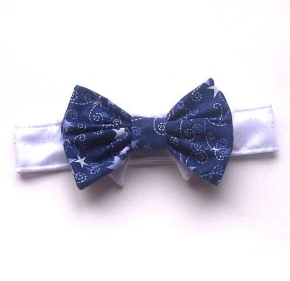 Dog or cat Bow Tie Dark Blue Stars