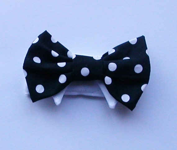 Pet Dog Bow Tie : black and white polka dot