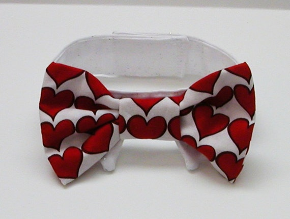 Dog or Cat Bow Tie:White with Red Hearts