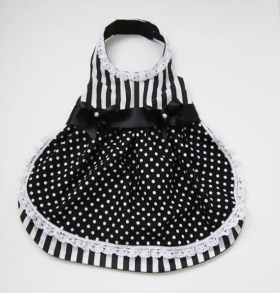 Dog Dress: Fancy Black and White Stripes and Polka Dots miascloset Handmade