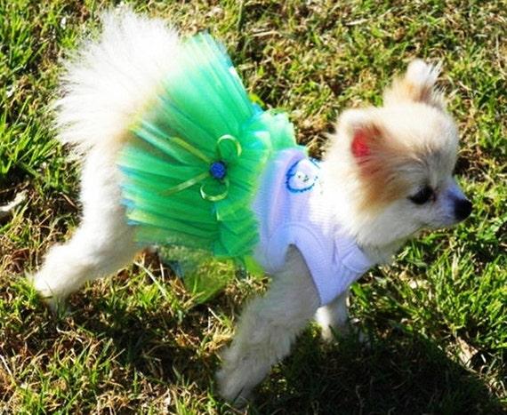 Dog Dress:Blue  TuTu  Wedding Dog Clothes  miascloset Blue and green whale Seaside wedding
