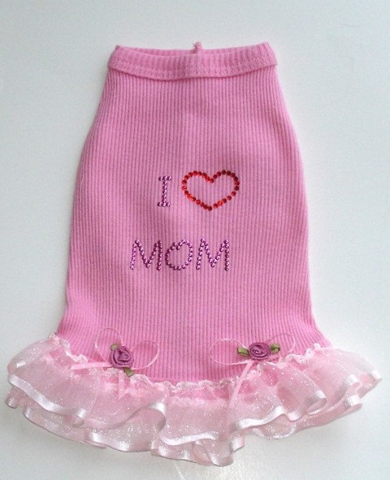 I Love Mom Dog Dress in Pink.