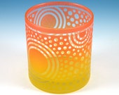 Bullseye Sun Lowball DOF Tumbler - Etched and Painted Glassware - Custom Made to Order Barware