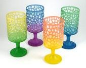 Stemmed Tumbler Glasses - River Rocks  - Set of 4 - Custom Painted and Etched Glassware