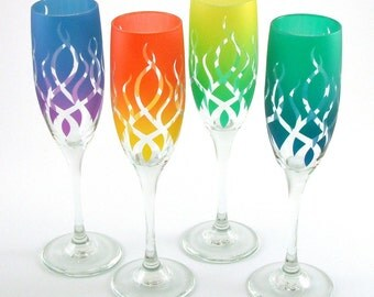 Strands Champagne Flutes - Etched and Painted Glassware - Custom Made to Order