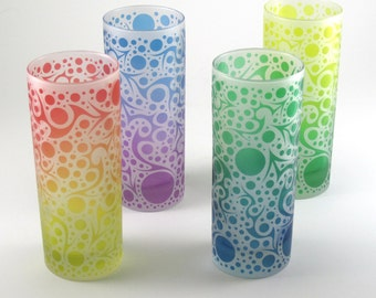 Highball Glasses - Bubbling Arrows - Frosted Style - Set of 4 - Etched and Painted Glassware - Custom Made to Order
