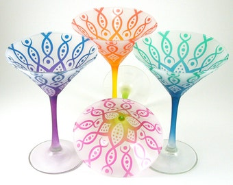 Martini Glasses - Vesuvian Flower - Frosted Style - Set of 4 - Etched and Painted Glassware - Custom Made to Order