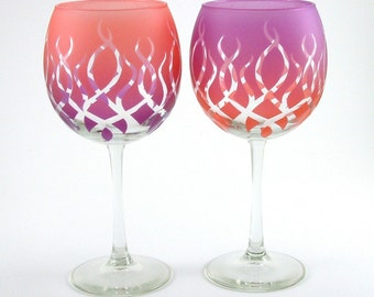 Strands Wine Glasses - Etched and Painted Glassware - Custom Personalized Stemware