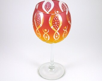 Vesuvian Flower Wine Glass - Etched and Painted Glassware - Custom Made to Order