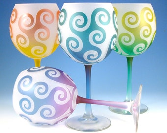 Spiral Waves Wine Glasses - Painted and Etched Glassware - Custom Made to Order