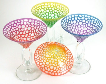 River Rocks Martini Gift Set - Omega Stem - Etched and Painted Glassware - Custom Made to Order