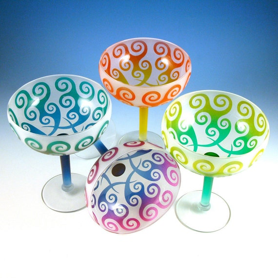 Spiral Waves Margarita Gift Set - Frosted and Painted Glasses - Custom Glass Barware