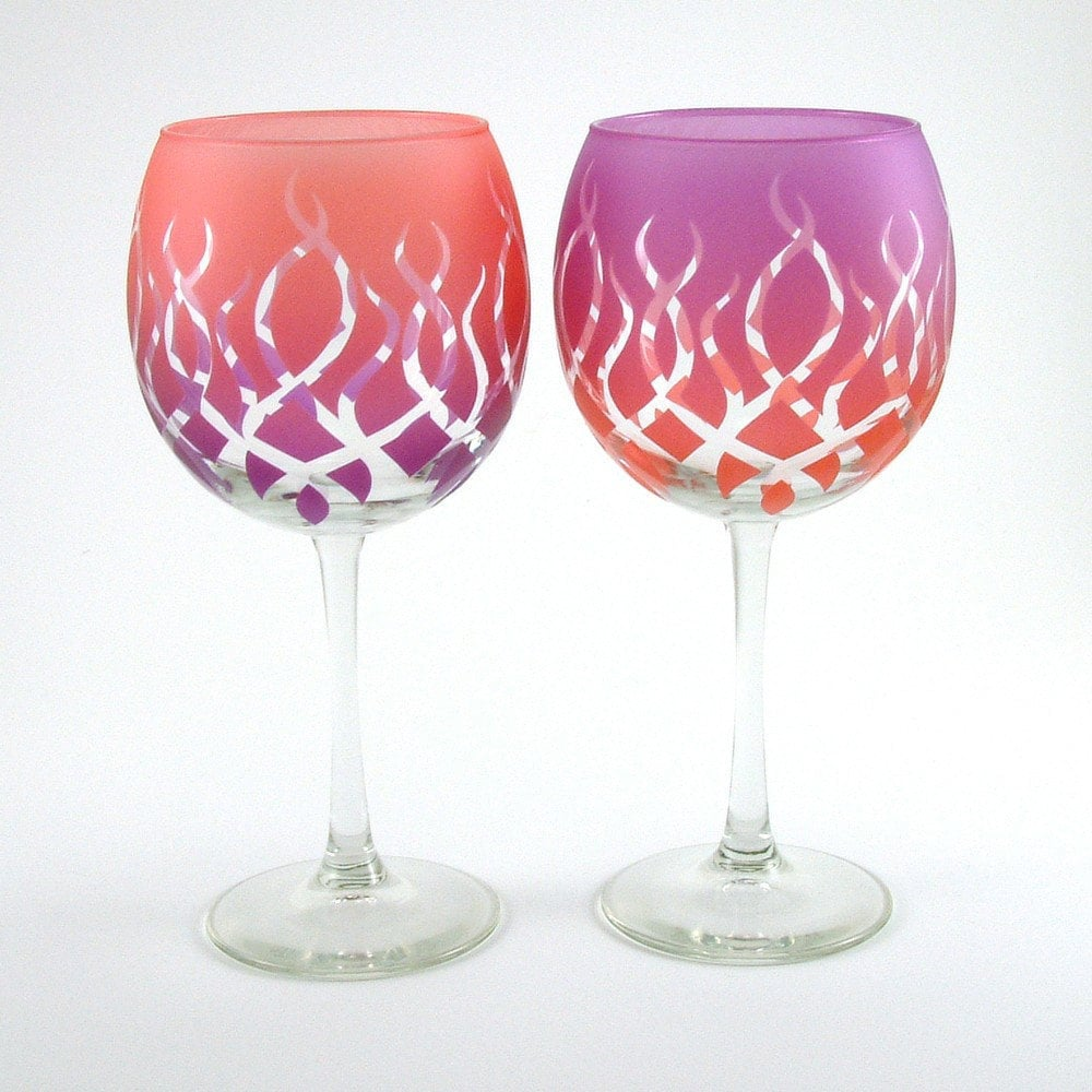 Strands wine glasses etched and painted glassware custom for Painted wine glasses