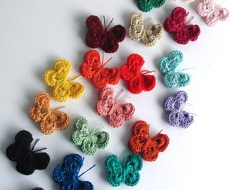 6 CROCHETED BUTTERFLY APPLIQUE any colors you wish