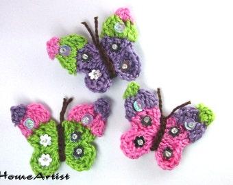Crochet Applique Embellishment Butterflies