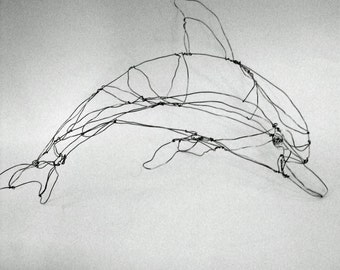Dolphin (silver)-Wire Drawing Sculpture Art