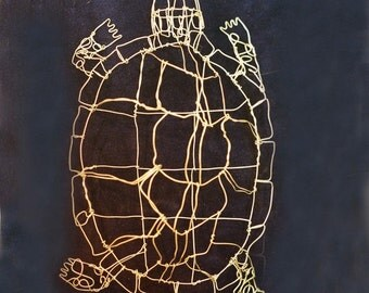 Silver Turtle Wire Drawing Sculpture