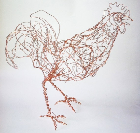 SALE-Red Rooster-Copper Wire Drawing Sculpture art