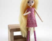 Little Felt Friend doll- blonde girl in pink heart dress- Waldorf inspired