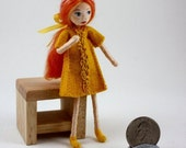 Little Felt Friend doll- strawberry blonde girl in yellow- Waldorf inspired