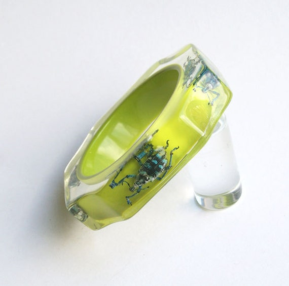 Salag green lucite bracelet with exotic real insects