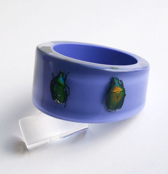 Purple lucite bracelet with real insects