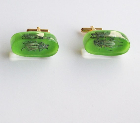 Green lucite cufflinks with real beetles