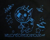 Cotton Boston Terrier Outer Space Dog Tote Bag