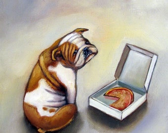English Bulldog Pizza Print