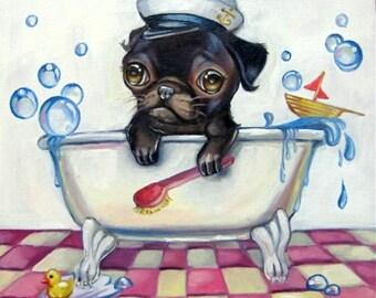 Pug in a Tub Print