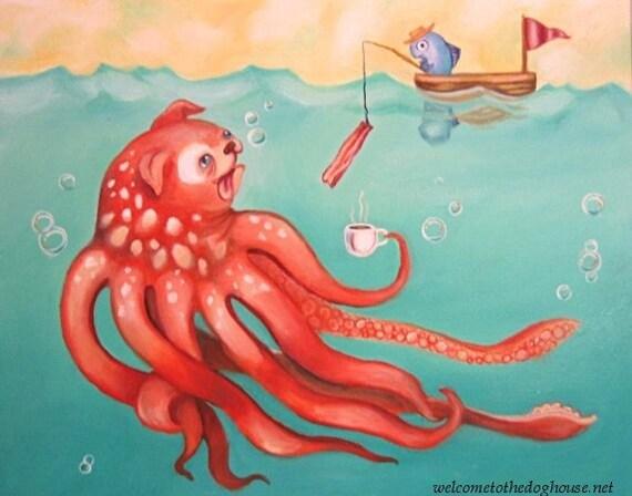 Octopus Dog Art Prints