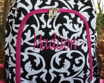 Damask Backpack - Personalized Backpack - Monogram Backpack - Girl Backpack - Large Backpack - Embroidery - School Backpack