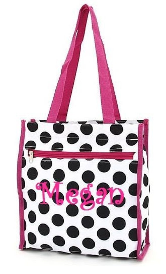 Black and White Polka Dots Shoppers Tote Includes Mongrammed Name