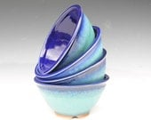 Mini Noodle Bowls - Made to Order - Cobalt Blue Turquoise - Set of 4
