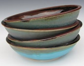 Hand Thrown Pasta Bowls - Made to Order - Turquoise Brown Black - Set of 4
