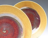2 Dinner Plates - Handmade Dinnerware - Honey and Red ... Made to Order