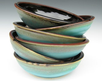 Made to Order...Set of 6 Pasta Bowls in Brown and Turquoise