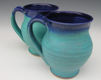 Pair of Mugs - Ready to Ship - Cobalt and Turquoise