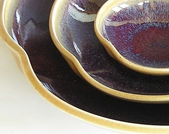 Nesting Bowl Set - Made to Order - Copper Red Honey Yellow Ceramic Pottery